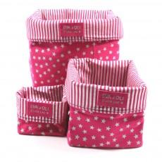 Boîte de rangement fushia - Etoiles argent