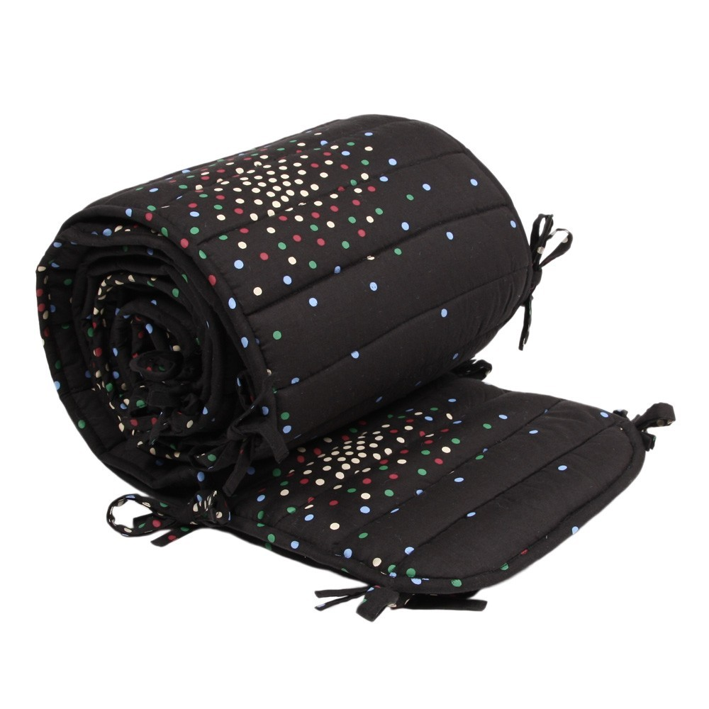 tour de lit complet charbon pois multicolores april. Black Bedroom Furniture Sets. Home Design Ideas