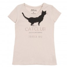 T-shirt Cat Club-Beige
