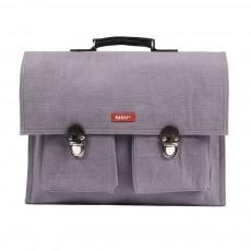 Cartable Bretelles canvas et cuir Violet