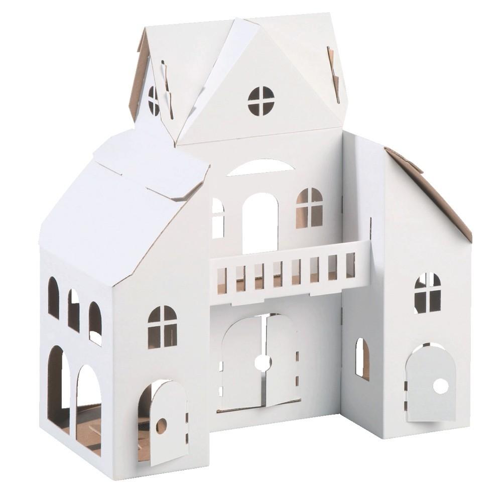La maison de poup e en carton recycl calafant jouets for Maison en papier a construire