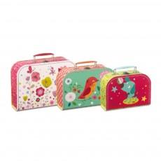 Set de 3 valisettes carton fleurs, oiseau et chien Multicolore