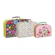 Set de 3 valisettes carton fleurs, popette, fraises Multicolore