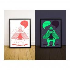 Affiche phosphorescente - Hibou