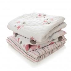 Langes - Etoiles et rayures rose - Pack de 3