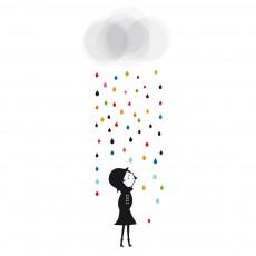 Sticker Mademoiselle sous la pluie - Blanca Gomez