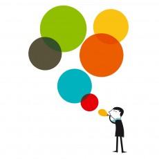 Sticker Monsieur et les bulles multicolores - Blanca Gomez