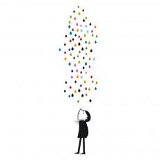 Sticker Monsieur sous la pluie - Blanca Gomez