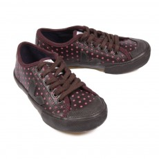 Guris Leather Lace Myrtille Dots Cafe