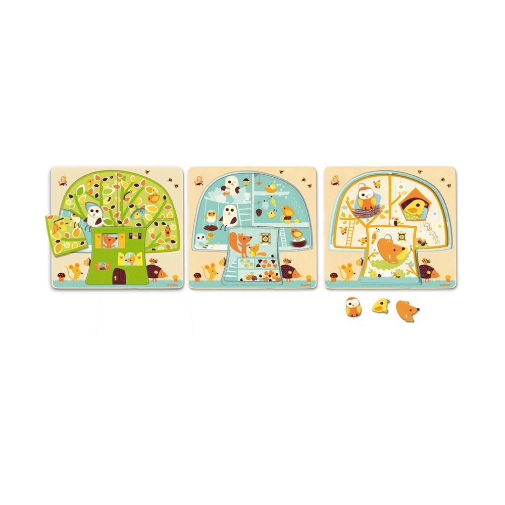 Puzzle 3 niveaux cabane dans les arbres djeco jeux for Acheter cabane dans les arbres