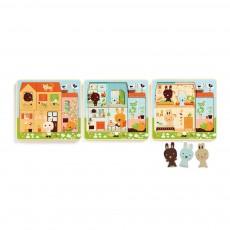Puzzle trois niveaux - Cottage des lapins Multicolore