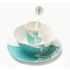 Set de vaisselle lapin en mélamine Bleu