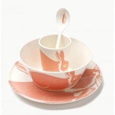 Set de vaisselle lapin en mélamine Rose