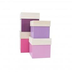 Boîtes en bois - Rose et lila