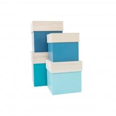 Boîtes en bois - Turquoise et bleu