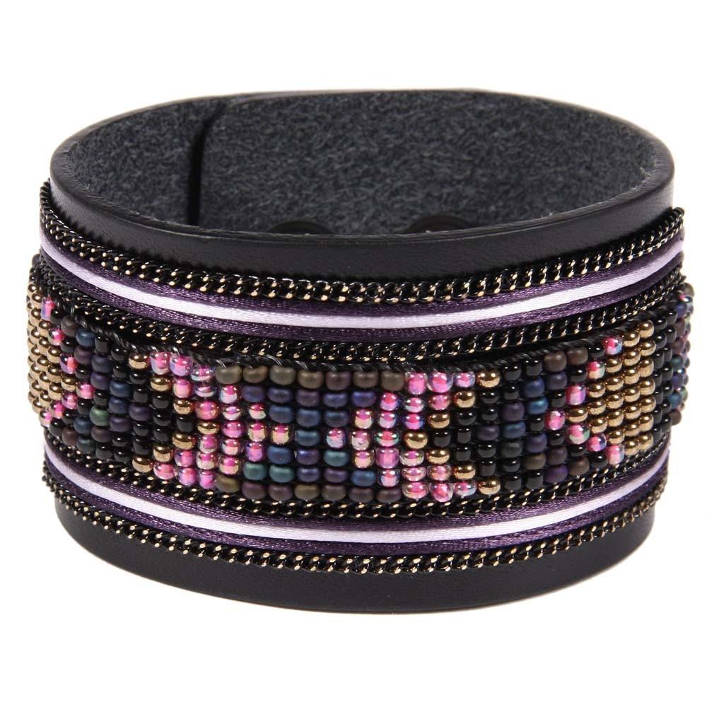 Bracelet en cuir noir apache avec ruban satin et perles violet opale mode ado smallable - Bracelet perle et ruban ...