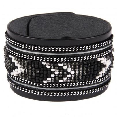 Bracelet en cuir noir apache avec ruban satin et perles noir archives le fait main - Bracelet perle et ruban ...