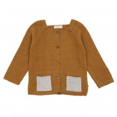 Cardigan poches bi-colores Ocre