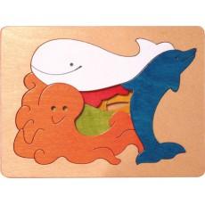 Puzzle 3 niveaux baleine et amis