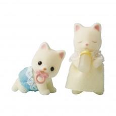 Bébés jumeaux Chat Soie Blanc
