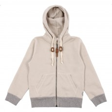 Sweat Capuche Bicolore Beige