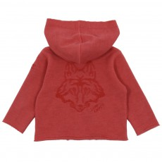 Sweat Zip Capuche Loup Rouge brique