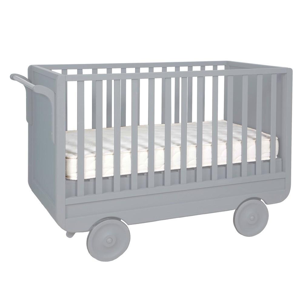 Lit volutif roulotte 60x120 cm gris clair laurette mobilier smallable - Lit roulotte laurette ...