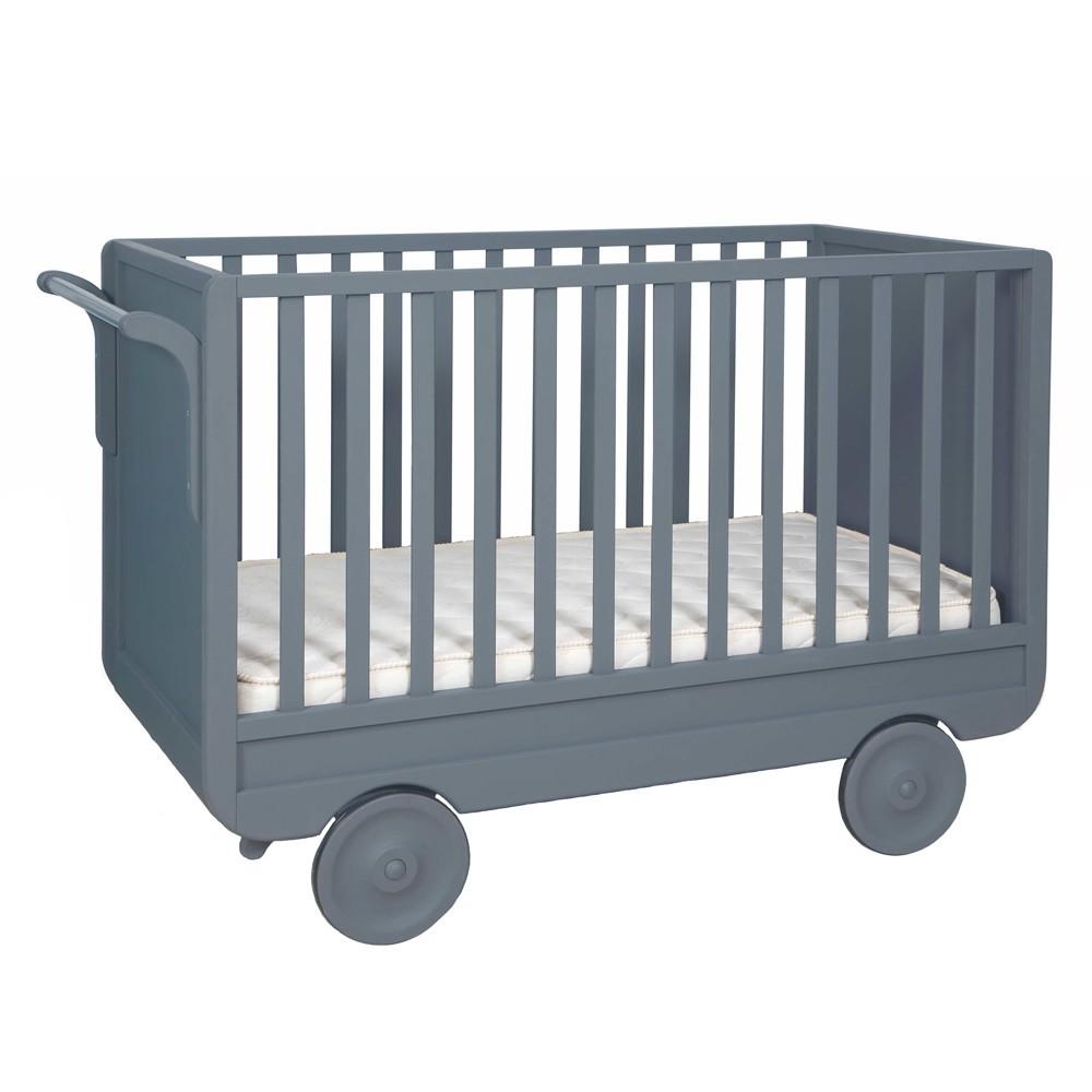 Lit volutif roulotte gris fonc laurette mobilier enfant smallable - Lit roulotte laurette ...