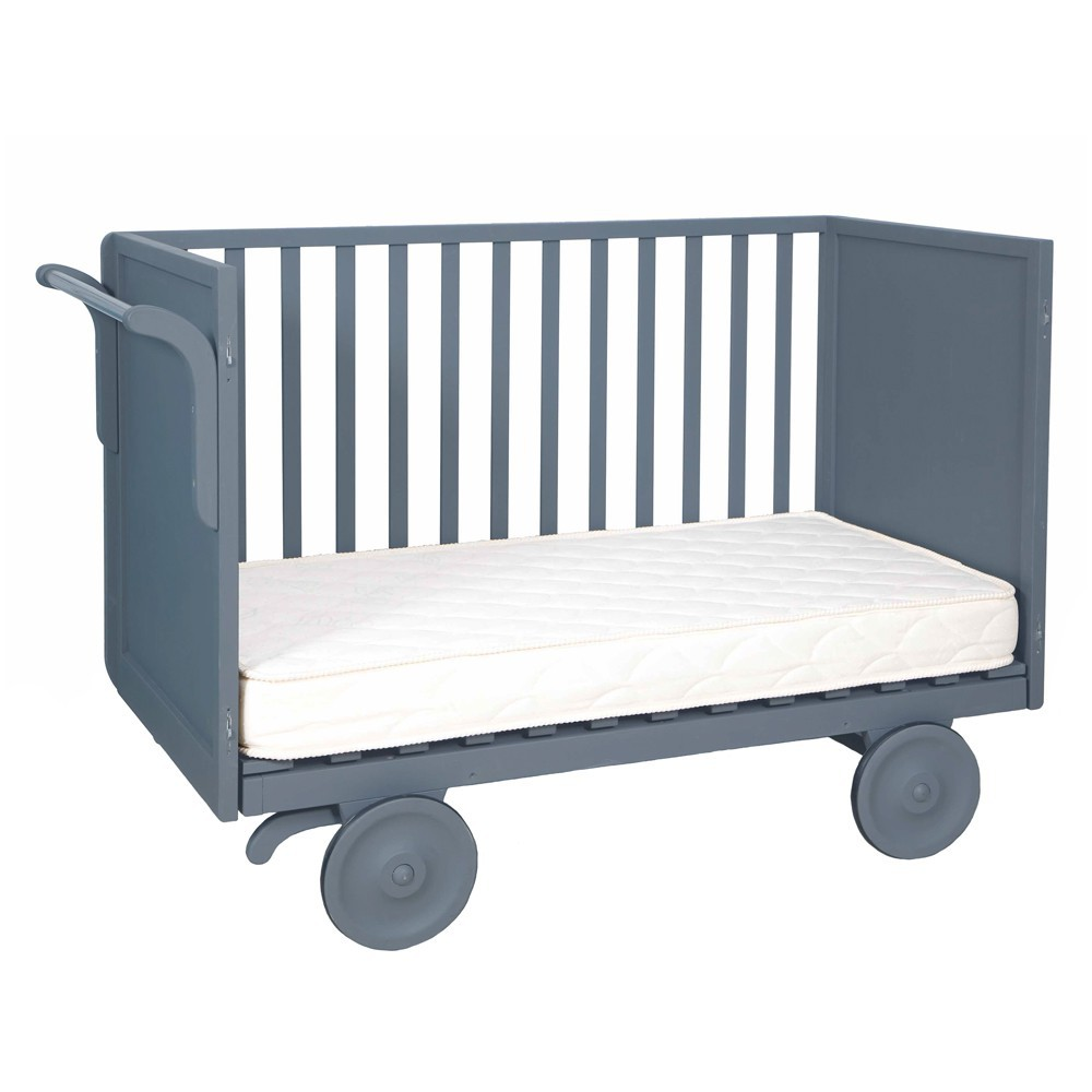 Lit volutif roulotte 60x120 cm gris fonc laurette mobilier smallable - Lit roulotte laurette ...
