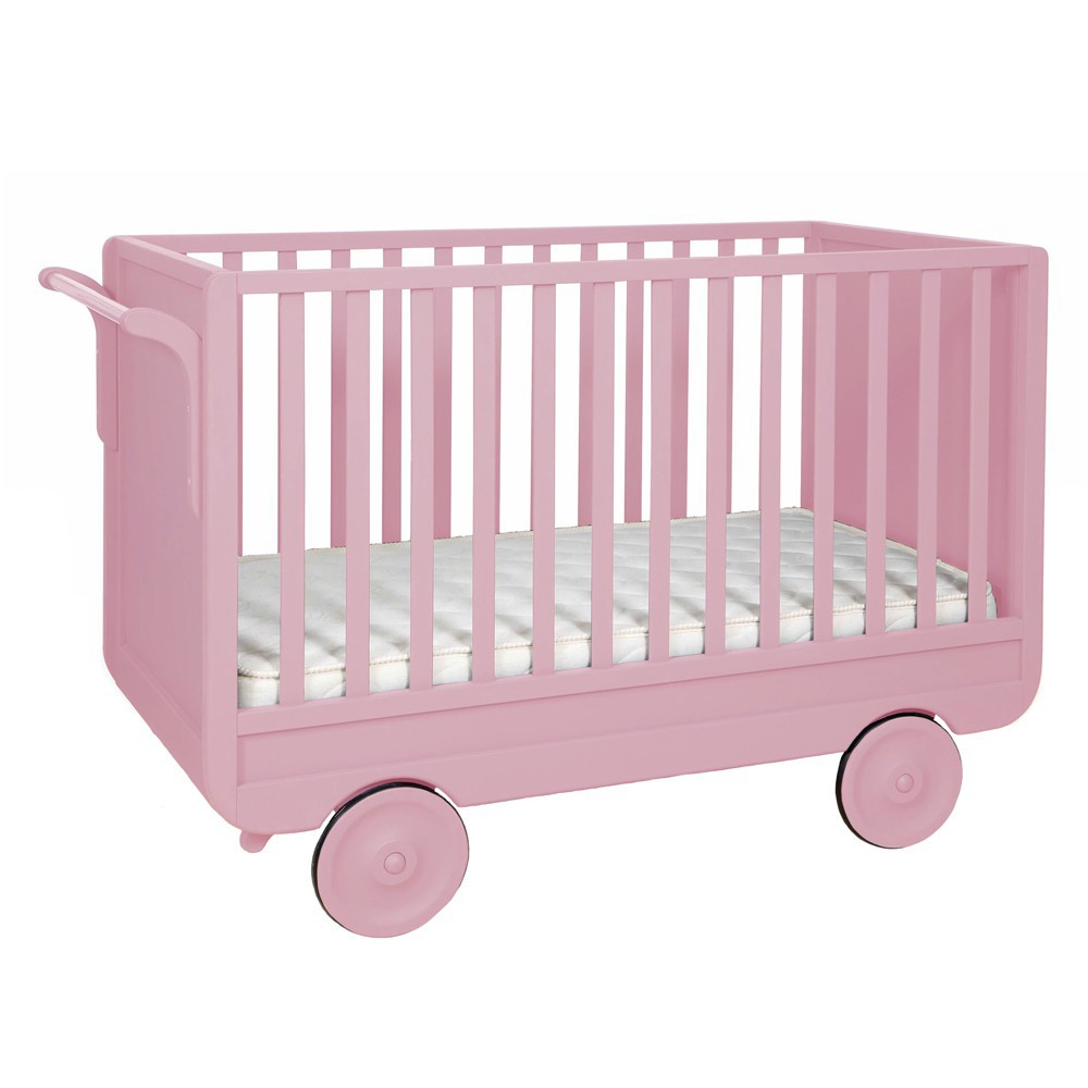 Lit volutif roulotte vieux rose laurette mobilier enfant smallable - Lit roulotte laurette ...