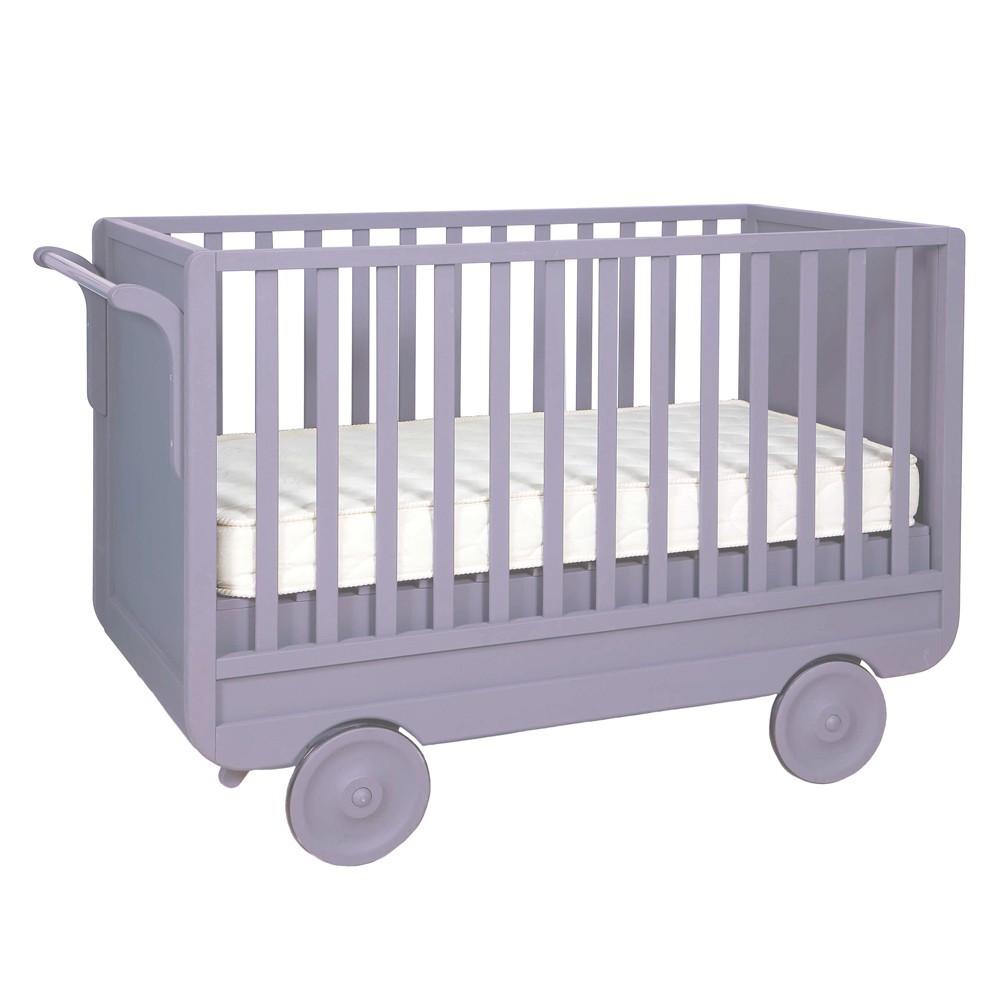 Lit volutif roulotte 60x120 cm violet laurette mobilier smallable - Lit roulotte laurette ...