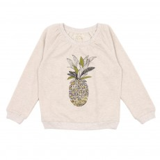 Sweat Ananas Brodé Ecru chiné