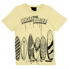 T-shirt Ride The Wave col V Jaune pâle