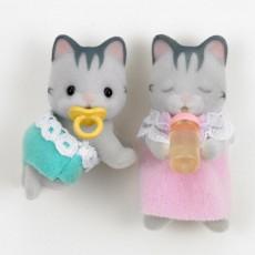 Bébé Jumeaux Chat Gris