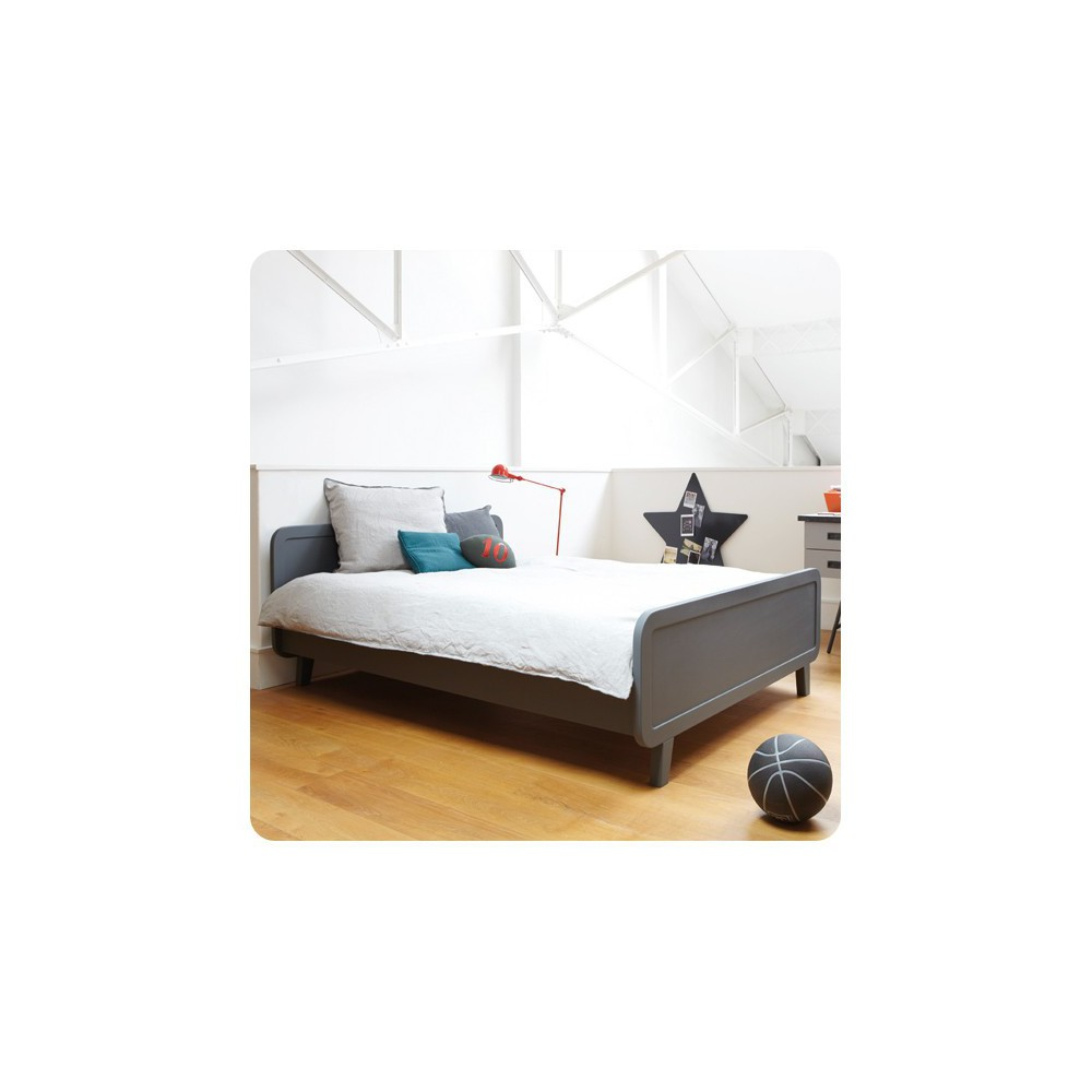 lit rond 140x200 cm gris fonc laurette mobilier smallable. Black Bedroom Furniture Sets. Home Design Ideas
