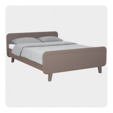 Lit rond 140x200 cm - Taupe