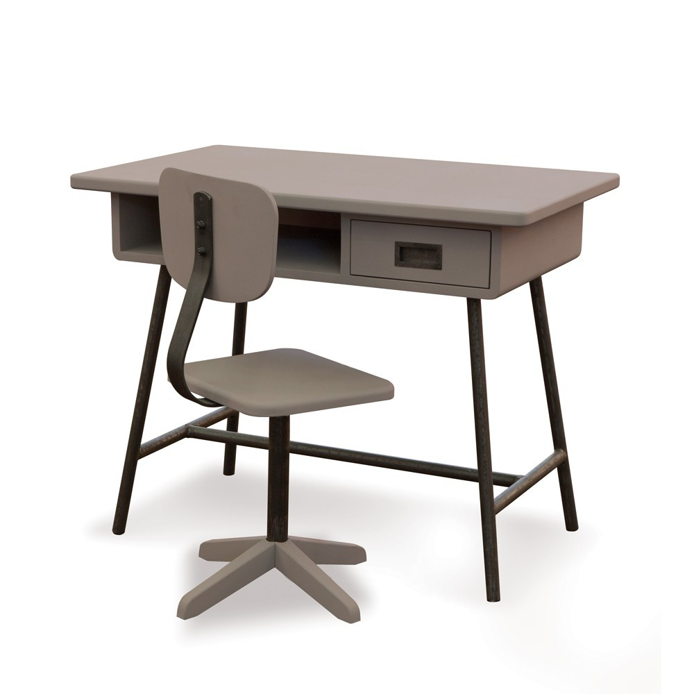 Bureau la classe et sa chaise d 39 atelier taupe laurette mobilier enfan - Bureau style atelier ...