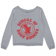 Sweat en Jersey Double Imprimé School Bleu gris