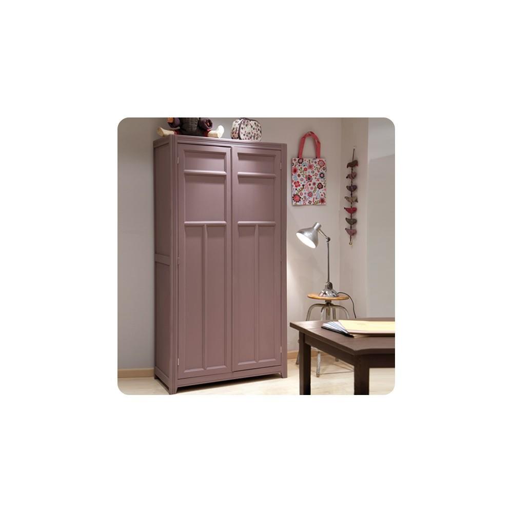 Armoire parisienne taupe gris clair laurette mobilier smallable - Armoire couleur taupe ...