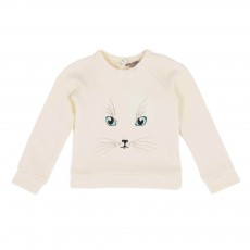 Sweat Chat Bébé Blanc cassé