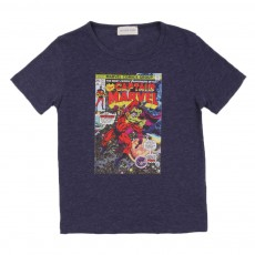 T-shirt Captain Marvel Bleu chiné