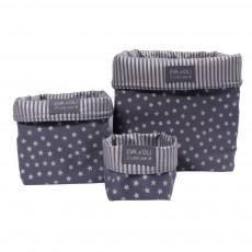 Boîte de rangement Bleu gris - Etoiles argent