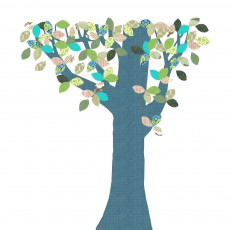 Sticker géant Arbre Novembre Bleu