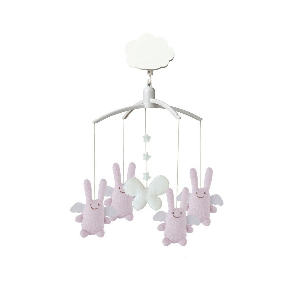 mobile musical ange lapin rose trousselier jeux jouets. Black Bedroom Furniture Sets. Home Design Ideas