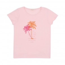 T-Shirt Palm Tree Rose pâle