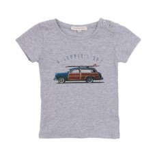 T-Shirt Surf Car Bébé Gris chiné