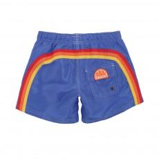 Short De Bain Bande Tricolore Bleu