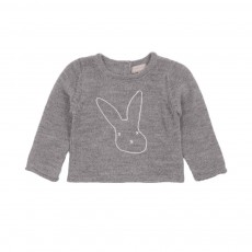 Pull cachemire Broderie Lapin Gris souris