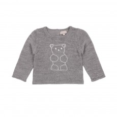 Pull alpaga broderie Ours Gris souris