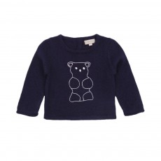 Pull cachemire broderie Ours Bleu marine
